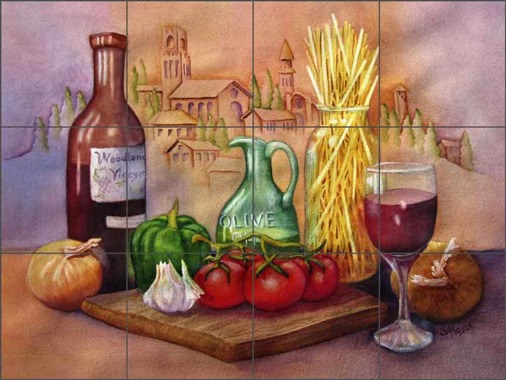 Tuscan Dinner by Sarah A Hoyle Ceramic Tile Mural RW-SH002