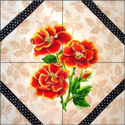 Brocade with Roses Ceramic Tile Mural - RW-SH007
