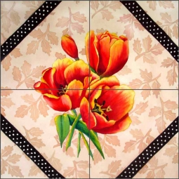 Brocade with Tulips by Sarah A. Hoyle Ceramic Tile Mural - RW-SH008