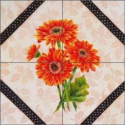 Brocade with Daisies by Sarah A. Hoyle Ceramic Tile Mural - RW-SH009