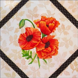 Brocade with Poppies by Sarah A. Hoyle Ceramic Accent & Decor Tile - RW-SH010AT