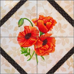 Brocade with Poppies by Sarah A. Hoyle Ceramic Tile Mural - RW-SH010