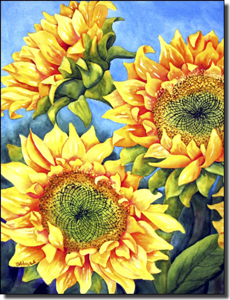 "Hoyle Sunflower Floral Ceramic Accent Tile 6"" x 8"" - RW-SH011AT"