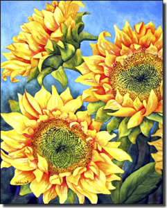 "Hoyle Sunflower Floral Ceramic Accent Tile 8"" x 10"" - RW-SH011AT"