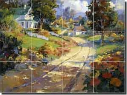 "Songer Country Landscape Glass Tile Mural 24"" x 18"" - RW-SSA001"