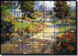 "Songer Country Landscape Tumbled Marble Tile Mural 28"" x 20"" - RW-SSA001"