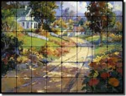 "Songer Country Landscape Tumbled Marble Tile Mural 32"" x 24"" - RW-SSA001"