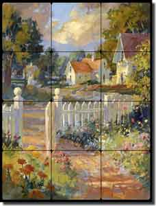 "Songer Country Landscape Tumbled Marble Tile Mural 18"" x 24"" - RW-SSA002"