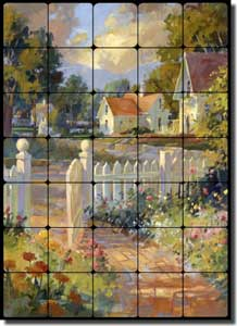 "Songer Country Landscape Tumbled Marble Tile Mural 20"" x 28"" - RW-SSA002"