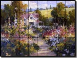 "Songer Country Landscape Tumbled Marble Tile Mural 32"" x 24"" - RW-SSA003"