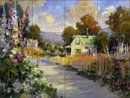Hollyhock Lane by Steve Songer Ceramic Tile Mural - RW-SSA004