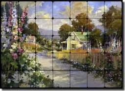 "Songer Country Landscape Tumbled Marble Tile Mural 28"" x 20"" - RW-SSA004"