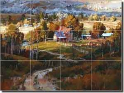 "Songer Country Landscape Glass Tile Mural 24"" x 18"" - RW-SSA005"