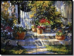 "Songer Country Landscape Tumbled Marble Tile Mural 24"" x 18"" - RW-SSA006"