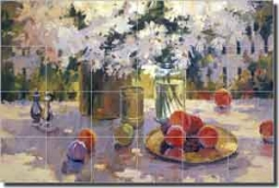 "Songer Peaches Daisies Ceramic Tile Mural 25.5"" x 17"" - RW-SSA007"