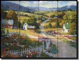 "Songer Country Landscape Tumbled Marble Tile Mural 24"" x 18"" - RW-SSA008"