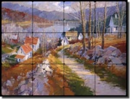 "Songer Lake Landscape Tumbled Marble Tile Mural 24"" x 18"" - RW-SSA009"