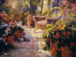 Wicker on the Patio by Steve Songer Ceramic Tile Mural - RW-SSA012