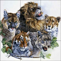 Cats of the Wild by Verdayle Forget Ceramic Tile Mural RW-VFA003