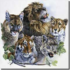 "Forget Lion Tiger Cats Glass Tile Mural 18"" x 18"" - RW-VFA003"
