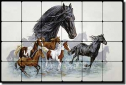 "Forget Horses Equine Tumbled Marble Tile Mural 24"" x 16"" - RW-VFA004"