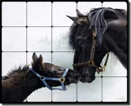 "Forget Horses Equine Tumbled Marble Tile Mural 20"" x 16"" - RW-VFA011"