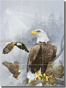 "Forget Eagles Birds Ceramic Tile Mural 18"" x 24"" - RW-VFA012"