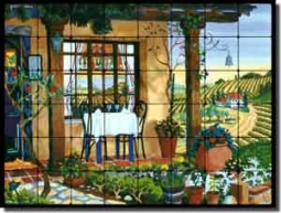 "Altman Vineyard Cafe Tumbled Marble Tile Mural 32"" x 24"" - RWA002"