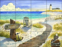 Boardwalk to the Lighthouse by Robin Wethe Altman Ceramic Tile Mural - RWA004