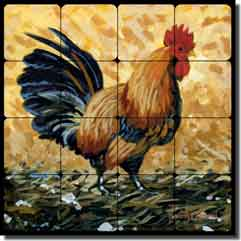 "Altman Rooster Tumbled Marble Tile Mural 16"" x 16"" - RWA009"