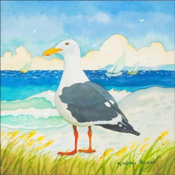 Seagull Alone by Robin Wethe Altman Ceramic Accent & Decor Tile RWA010AT