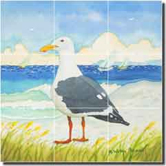 "Altman Seagull Seascape Glass Tile Mural  18"" x 18"" - RWA010"