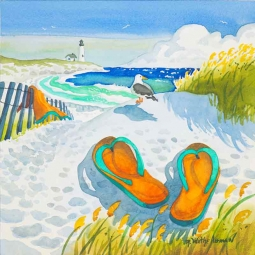 Seagull Flip Flops by Robin Wethe Altman Ceramic Accent & Decor Tile RWA012AT