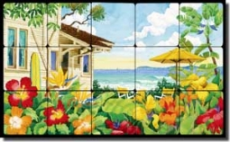 "Altman Tropical Seascape Tumbled Marble Tile Mural 20"" x 12"" - RWA014"