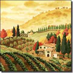 "Altman Tuscan Landscape Ceramic Accent Tile 6"" x 6"" - RWA015AT"