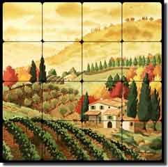 "Altman Tuscan Landscape Tumbled Marble Tile Mural 16"" x 16"" - RWA015"