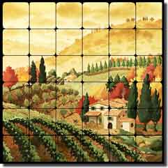 "Altman Tuscan Landscape Tumbled Marble Tile Mural 24"" x 24"" - RWA015"
