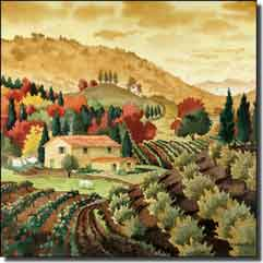 "Altman Tuscan Landscape Ceramic Accent Tile 6"" x 6"" - RWA016AT"