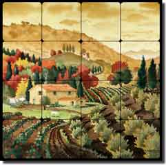 "Altman Tuscan Landscape Tumbled Marble Tile Mural 16"" x 16"" - RWA016"