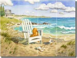 "Altman Beach Seascape Glass Tile Mural 24"" x 18"" - RWA017"