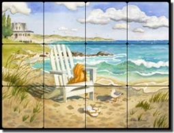 "Altman Beach Seascape Tumbled Marble Tile Mural 24"" x 18"" - RWA017"