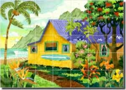 "Altman Tropical Seascape Glass Tile Mural 42"" x 30"" - RWA018"