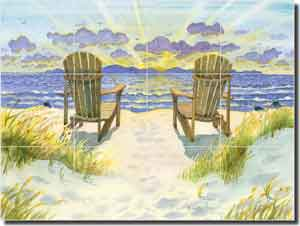 "Altman Seascape Sunrise Glass Tile Mural 24"" x 18"" - RWA019"