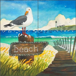 Seagull Beach Sign by Robin Wethe Altman Ceramic Tile Mural RWA020