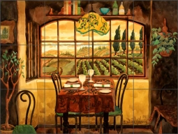 Romantic Dinner in Tuscany by Robin Wethe Altman Ceramic Tile Mural RWA023