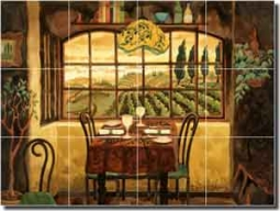 "Altman Tuscan Cafe Glass Tile Mural 24"" x 18"" - RWA023"