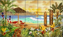 Altman Tropical Beach Ceramic Tile Mural - RWA025