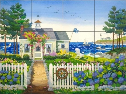 Maine Cottage Bungalow by Robin Wethe Altman Ceramic Tile Mural RWA027