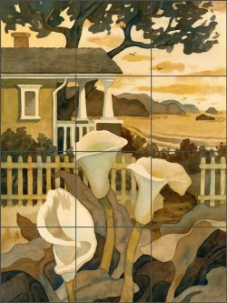 Craftsman Cottage By the Sea by Robin Wethe Altman Ceramic Tile Mural RWA029
