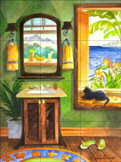 Cat in the Windowseat by Robin Wethe Altman Ceramic Tile Mural RWA035